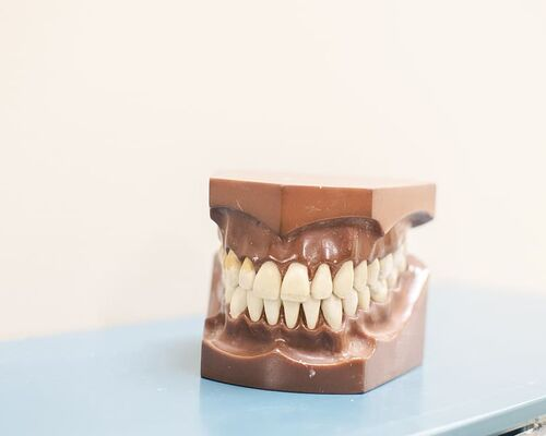 teeth-denture-on-top-of-blue-shelf